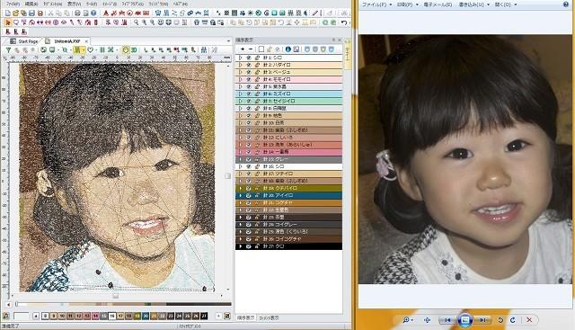 元の画像を刺しゅうPRO NEXTで変換、その後タジマDG/ML by PULSEで編集していくと画面左のようなプレビューが完成する。